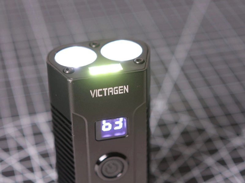 Close up of the Victagen front light with both the main and fog lights turned on