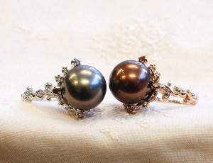 サロン限定デザイン出来上がりました。パリのエスプリ感じさせるショコラカラーの真珠のリングも♪