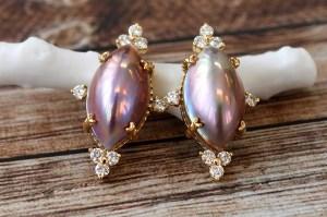 【カスタマイズ例】類稀な発色を持つマーキスシェイプ奄美大島産マベ真珠でゴージャスなピアス。