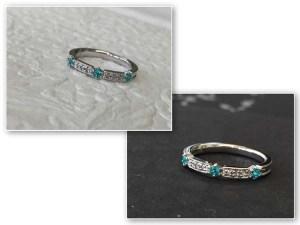 【カスタマイズ例】抜群の発色のパライバトルマリンにローズカットダイヤを添えて