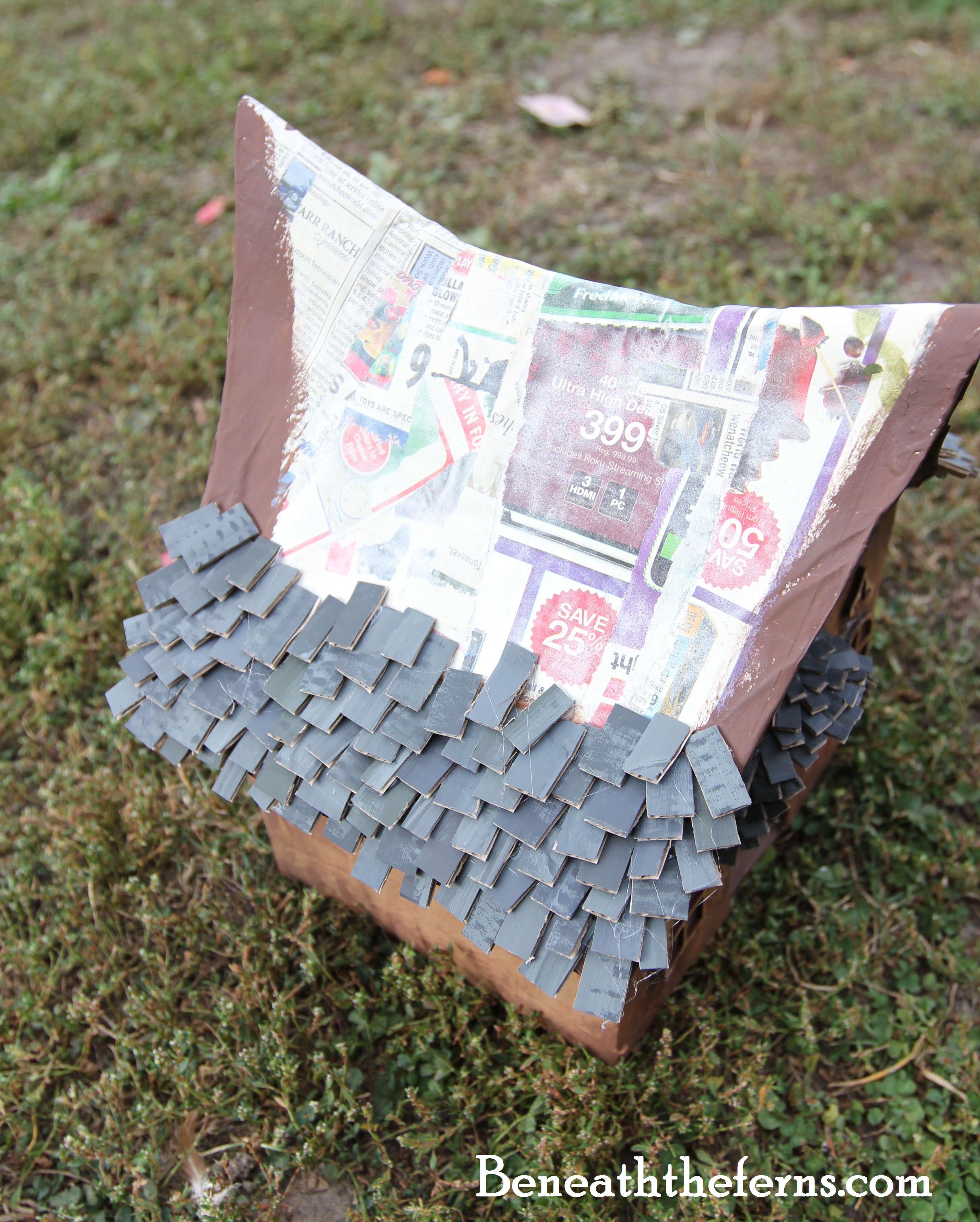 How To Make A Fairy House Roof With Shingles Beneath The Ferns
