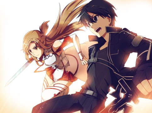 Kirito and Asuna fighting