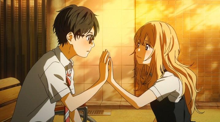 arima and kaori hold hands