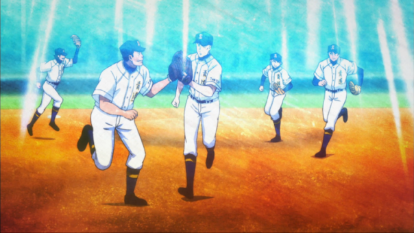 The Seido baseball team rallies around Tanba, a third-year pitcher who is just starting to get back into the groove after an injury kept him out of the game. (ep 39)
