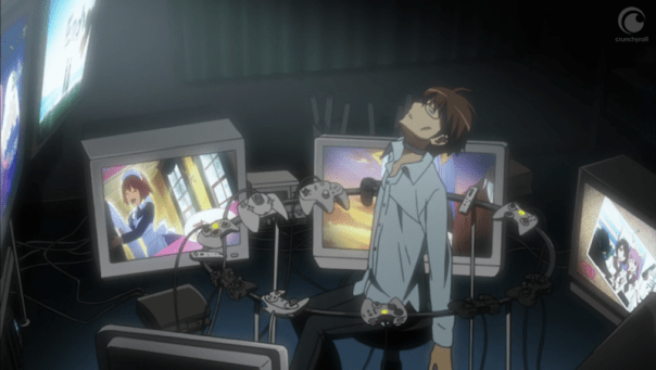 Keima played 24 games at once in order to get through his backlog. He is no longer fully present; his mind his dancing through a field with dating sim characters while he assaults our ears with his terrible singing. Yep. His delusion has never been so clear. Look at those gaunt cheeks!