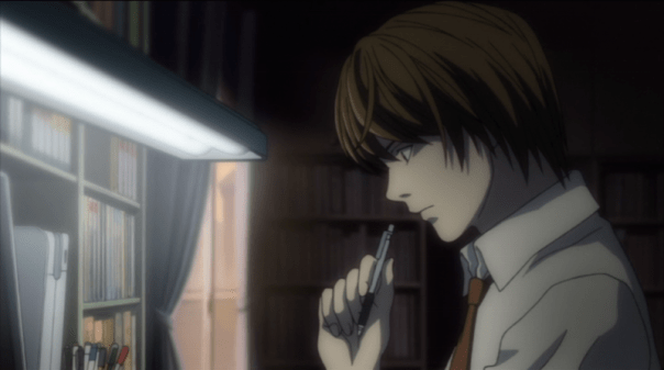 Light in episode 1, deciding whether or not to see if the Death Note is real. He still looks so cute and innocent at this point!