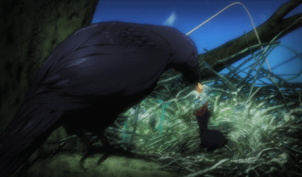 """The Karasuno team is associated with crows, so we're treated with imagery like this that emphasizes what the team's going through. In this case, Nekoma's coach has been musing on """"baby crow"""" Hinata's impending growth (ep 5)."""