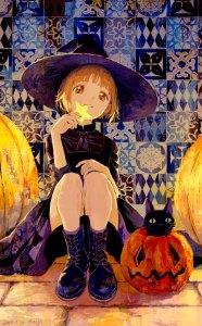 halloween anime girl witch