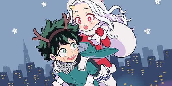 eri as santa riding deku as a reindeer