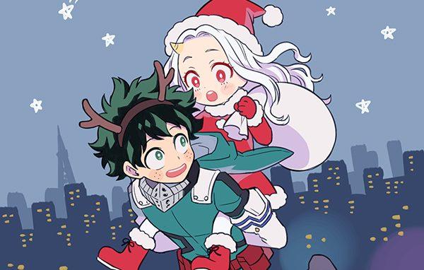 eri as santa riding deku as a reindeer