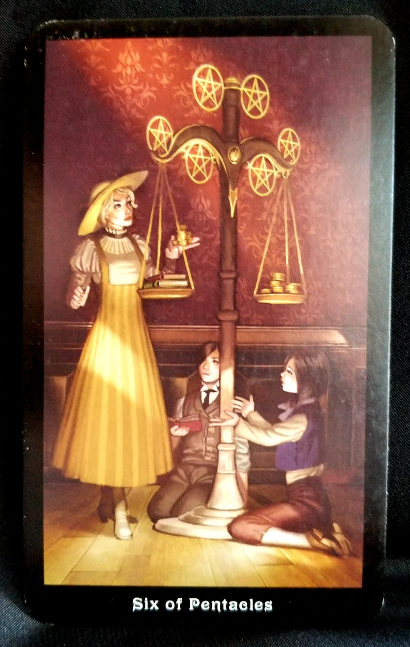 Six Of Pentacles Tarot Card Of The Day Beneath The Triune Moon You are in a position to be generous if you want to be. six of pentacles tarot card of the day