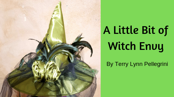 Witch Envy - Green witches hat wth black veil