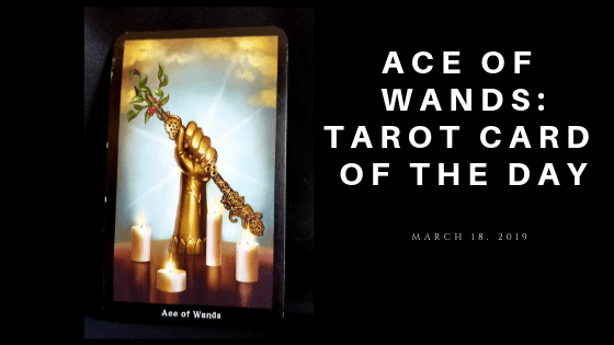 Ace of Wands-gauntlet clad hand holding a gold wand