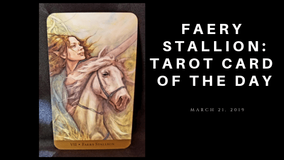 Faery Stallion - Woman riding a white horse looking towards the future