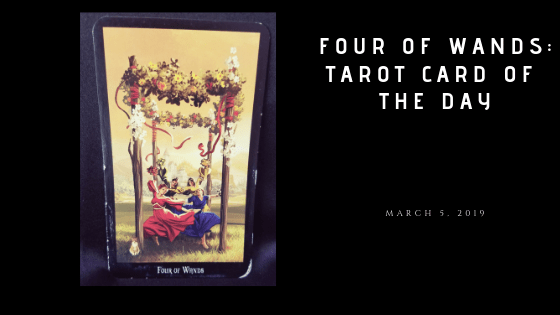 Four of Wands - Four women dancing beneath a canopy of flowers