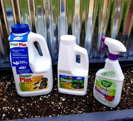 Containers of Sluggo, Sluugo Plus and Insecticidal soap