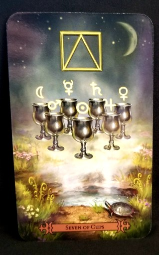 Seven of Cups - Seven pewtar cups under an alchemical water symbol. Each cup holds n astrological symbol.
