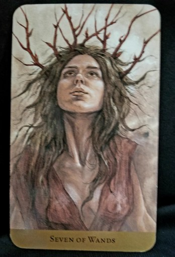Seven of Wands - Woman wearing a crown of seven twigs looking up at the sky