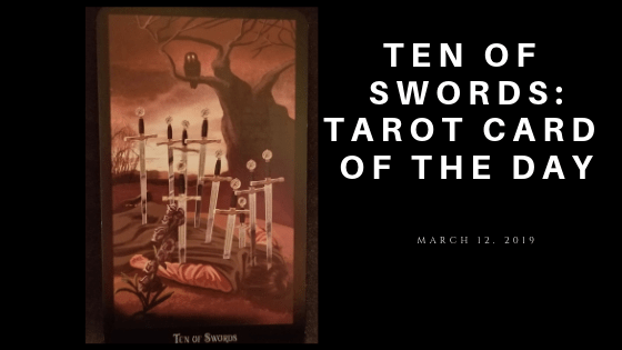 Ten of Swords - Man lying face down with ten swords sticking out of his back