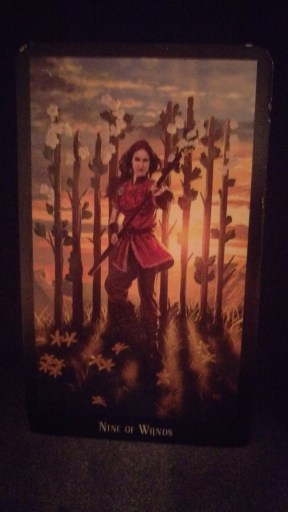 Nine of Wands - A woman holding a blooming staff, standing in front of 8 others