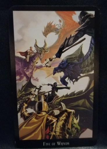Five of Wands Tarot Card -Five individuals, each riding a dragon whole carrying staffs looking as if hey will fight each other.