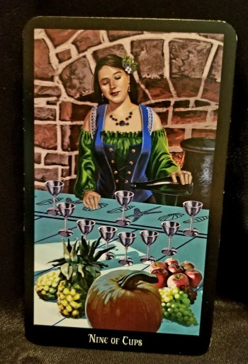 Nine of Cups - A well-dressed woman pouring wine into one of nine sillver cups.  The table is ladenwoth fruit of all kinds.