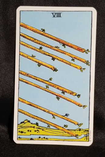 Eight of Wands - Tarot Card:  Eight staffs with leaves upon them pointing into the distance.