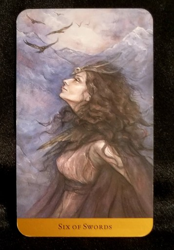 Six of Swords - Tarot Card:  A striking woman, a raven skull as her headress, is looking towards the sky.