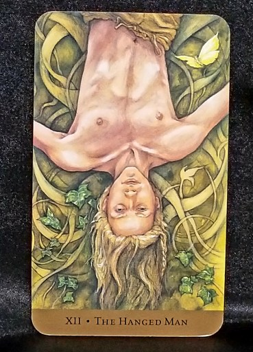 The Hanged Man - Tarot Card:  A serene young man hanging upside down, ivy and vines all around him.
