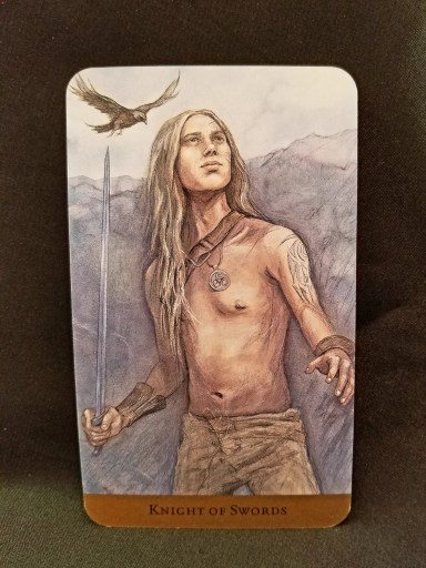 Knight of Swords - Tarot Card:  A handsome young man holding his sword at the ready, looking towards the future.
