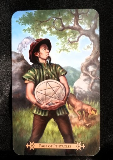 Page of Pentacles - A man in a plumed hat holding a large pentacle disc.  A dog is burying a bone behind him.
