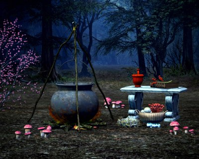 Making Time for Magick - A cauldron in the woods surrounded by toadstools.  An altar sits next to it.