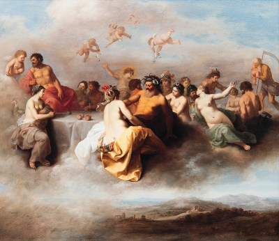 Meeting the Gods - a picture of the Greek Gods and Goddesses in the clouds