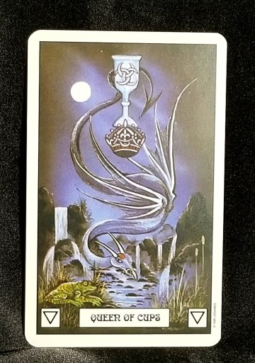 Queen of Cups - Tarot Card:  A gray dragon hovering over a pond, an ornate chalice gripped by its tail.