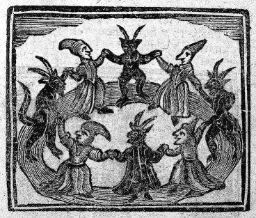 An old wood-cut of a witches ritual