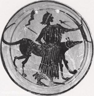 The Race: Ancient plate showing Hecate with one of her hounds