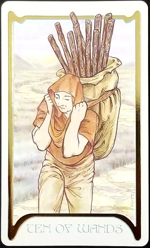 Ten of Wands - A man carrying a load of wands in a bag strapped on his back.