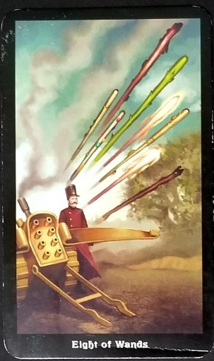 Eight of Wands- A commander releasing the lever on a machine that hurls eight wands.
