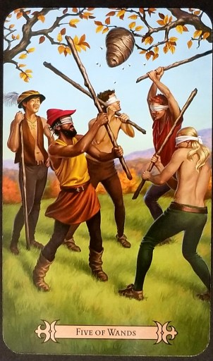 Five of Wands - Four blindfolded men are trying to hit a beehive with wands while a fifth man watches.