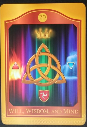 Will, Wisdom, and Mind: A triquetra floats in the center of a rainbow