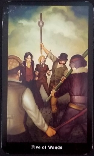 Five of Wands- A man raises a staff towards a group of people surrounding him - each carrying their own staff.