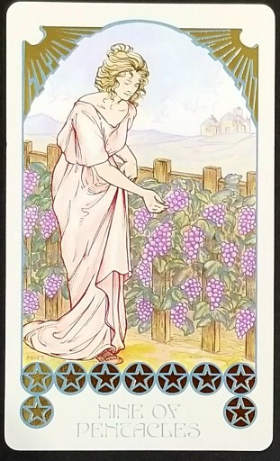Nine of Pentacles- Tarot:  A woman dress in a toga tends to her grapevines.