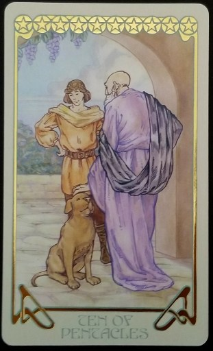 Ten of Pentacles - and older man and a young man look deep in conversation.  The older man rests his hand on a dogs head.