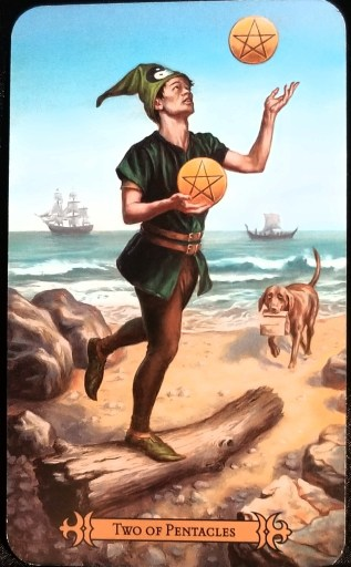 Weekly Tarot Reading- Two of Pentacles:  A Man standing on a one foot while balancing on a log and juggling pentacle disks.
