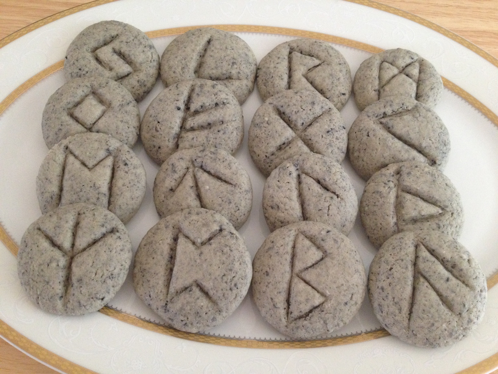 Edible Rune Divination Black Sesame Shortbread Rune