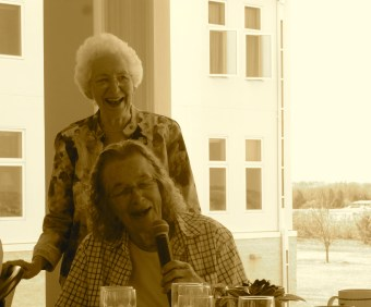 Sisters Marlene and Aurelia laugh and share stories