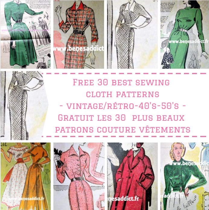 GRATUIT 30 Patrons de Vêtements Vintage à coudre! Free patterns cloth!