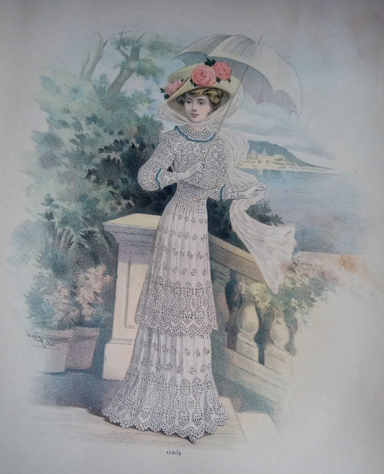 catalogue 1910 couture dentelle echantillons gravures de mode