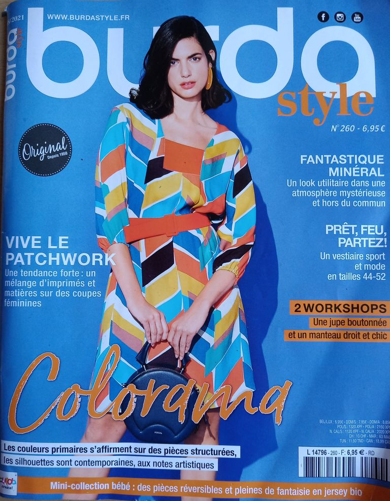 colorama, revue de presse Burda style n°260 mode grandes taille sportive, beaucoup de couleurs dans la revue couture, 2 tutos pour coudre 2 jolies pieces