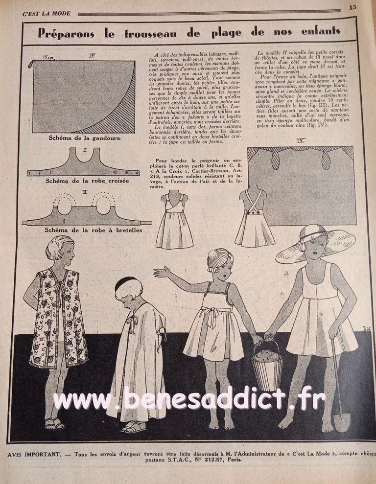 L'avant guerre1933 et des Tas de patrons/modèles GRATUITS, Tricot, Couture, Crochet, cuisine